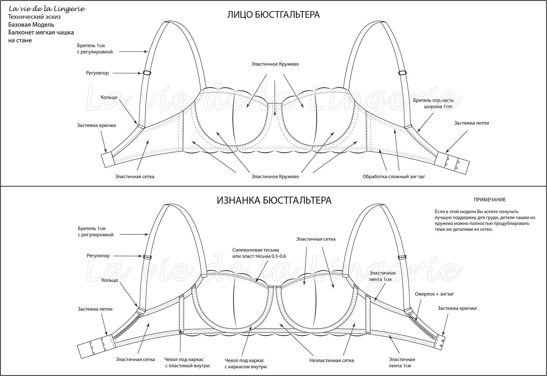 """Техническое описание для модели """"Бюстгальтер Балконет мягкая чашка на стане"""""""