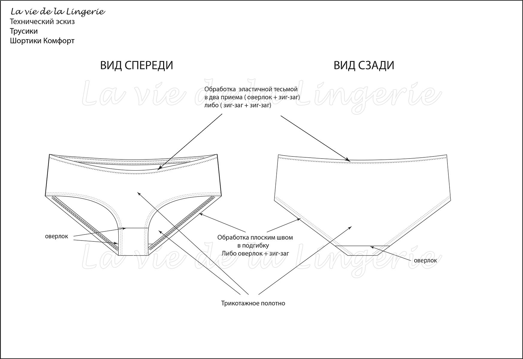 """Техническое описание для модели """"Трусики Шортики Комфорт"""""""